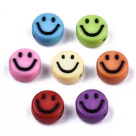 20 x Smiley kralen van acryl mix 7 x 3,5mm gat: 1,5mm