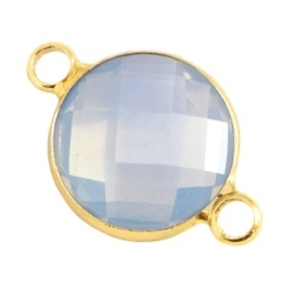 Crystal glas tussenstukken rond 12mm Light grey opal-Gold