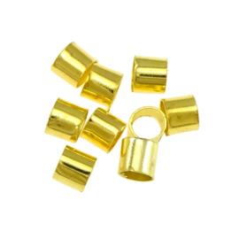 150 stuks goud kleur knijpkralen buismodel 3 x 3mm gat: 2.5mm
