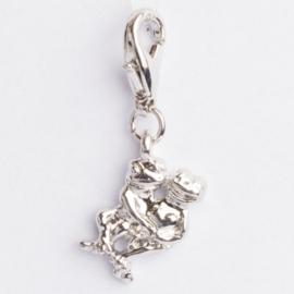Be Charmed kikkertjes bedel met karabijnsluiting zilver met een rhodium laag (nikkelvrij)