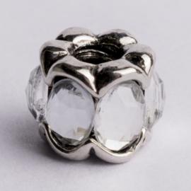 Be Charmed kraal zilver met een rhodium laag (nikkelvrij) c.a.10.8 x 9.5mm groot gat: 4mm