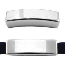 1x DQ metaal schuiver langwerpig gesloten Antiek zilver 26x8 mm Ø5.2 mm