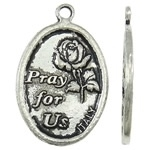 4 x Prachtige Tibetaans zilveren ovale bedel St. Francis Pray for us 16 x 25 x 1,5mm oogje: 1,5mm
