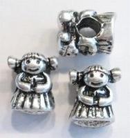 Per stuk Metalen European-style kraal  Meisje 13 mm