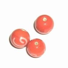 10 x Glaskraal rond 10mm donker oranje/rood met decoratie