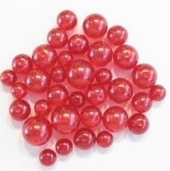Glas-set transparant rond rood met mooie parelmoer glans 4 maten 8 mm, 10 mm, 12 mm en 14 mm  c.a. 60~70 gram