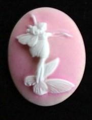 Prachtige Camée van Resin 38 x 30mm Elfje roze