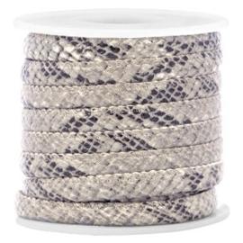 20 cm Gestikt leer imi 6x4mm snake Grey beige