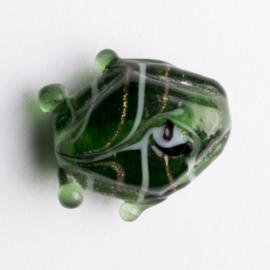 5  x vis kraal 18x18x8 mm kleur: groen gat: 1mm