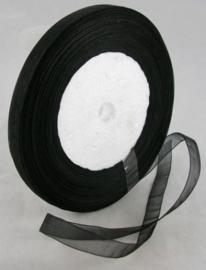 5  meter Organza lint 10mm breed per meter,  Zwart