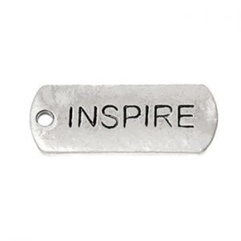 2 x Metalen Bedel Antiek Zilver Inspire maat: 21x8 mm