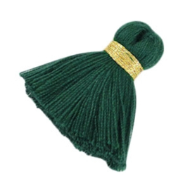 Per stuk Maxi kwastjes 3.5cm Goud-deep emerald green