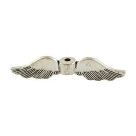 10 x Tibetaans zilveren vleugel kraal 8 x 35 x 5mm gat: 1,5mm