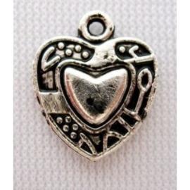 10x Tibetaans zilveren bedel van een hart 15 x 13mm