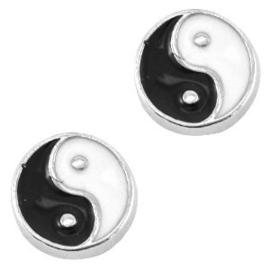2 x Floating Charms yin yang Antiek zilver-zwart wit 8 mm