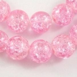 5 x Prachtige grote crackle kraal 14mm gat c.a. 1,5mm licht roze