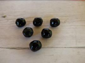 10 x Zwarte Rotsvorm Glaskraal ca. 8.4mm x 9.3mm  Gat: 1.1mm