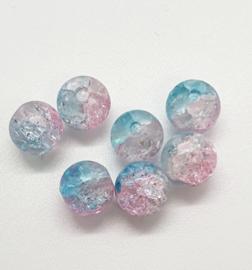 30 x mooie roze licht blauwe  crackle glaskralen van 8mm