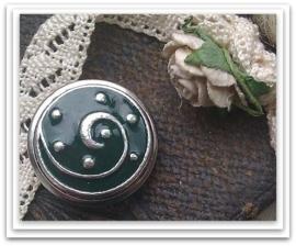Per stuk Mooie Metalen zilveren drukker bewerkt met groene epoxy 18 mm