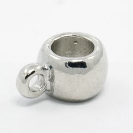 Bails hanger, platinum metalen ring met oog 7 x 14 x 10mm Ø6mm oogje 2mm