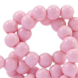 40 x 4 mm glaskralen half mat Roze