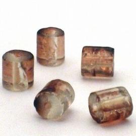30 stuks crackle glas kralen cilinder vorm 7 x 8mm cola transparant