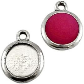 1x Metaal settings 1 oog voor 12 mm cabochon Antiek zilver ca. 20 x 16 mm (voor cabochon 12mm)