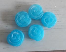 10 x platte ronde lichtblauwe glaskraal slakkenhuis 10 x 10 mm gat:1 mm