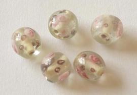10 stuks prachtige ronde lampworkkralen met bloemenprint 12mm Gat: 2mm Transparant-wit-roze