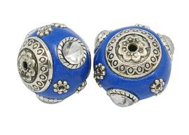 Schitterende handgemaakte Kashmiri kraal 18mm ingelegd met metaal en strass Gat: 2mm blauw