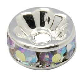 50 stuks Verzilverde Kristal Rondellen 10 mm blank AB