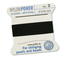Nylon Power no stretch - extra strong 2 meter met naald  No: 3 Ø 0,50mm zwart