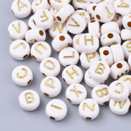 Letterkraal per stuk Acryl wit met goud 7 x 4mm gat:1,2mm