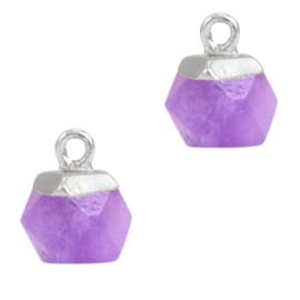 1 x Natuursteen hangers hexagon Purple-silver Amethyst