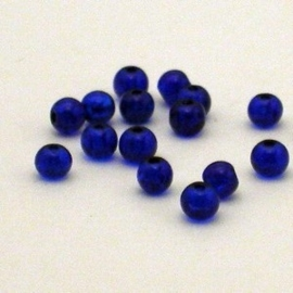 20 stuks Crackle kraal blauw 4mm