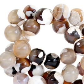 10 x Half edelsteen kralen rond 8mm agaat Nature colours beige brown gat c.a. 1mm