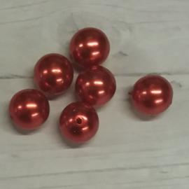 30 x rode glasparels  8mm Gat 2mm