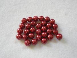 30 x prachtige glasparel 8mm Gat: 1mm kleur:  rood
