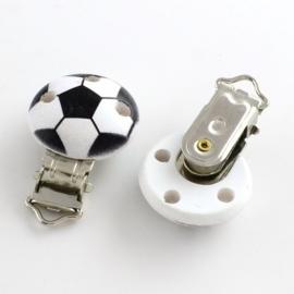 Houten speenclip voetbal voor het maken van een speenkoord.