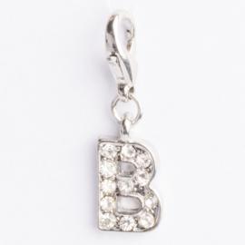 Be Charmed letter B bedel met karabijnsluiting zilver met een rhodium laag (nikkelvrij)