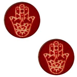 1 x Houten cabochon Hamsa hand van Fatima  12mm Dark red