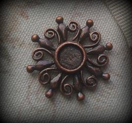 Per stuk Antiek bruin/koper rood metalen hanger rond 24 mm zonder steen