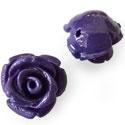 4 x  resin roosjes 12mm donkerpaars met rijggat