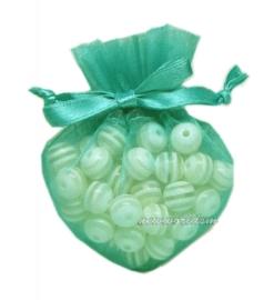 20 stuks luxe hartvormige organza zakjes 10cm x 8.75cm mint groen