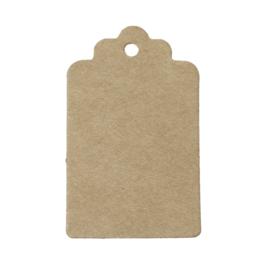 50 stuks stevige blanco bruine labels prijskaartjes voorzien van ponsgat  30 x 50mm