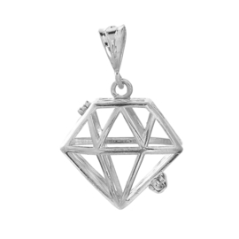 Engelenroeper hanger  geschikt voor 16mm klankbolletje diamant platinum met groen blauwe  emaile