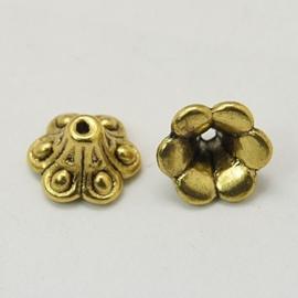 10 stuks kralenkapjes Tibetaans zilver 8,5 x 5,5mm goudkleur