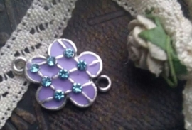 Per stuk Zilverkleurig metalen tussenzetsel bloem lila epoxy met strass 23 mm