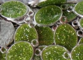 Schitterende metalen tussenzetsel epoxy emaille 19x35mm groen