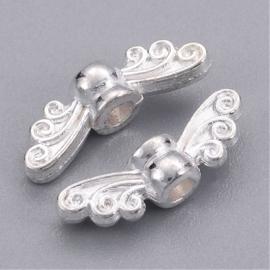10 stuks zilverkleur  mini vleugeltjes  4,5 x 14 x 3,5mm, gat: 2mm